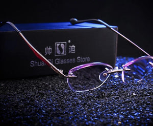 Fashion Women Rhinestone Rimless Reading Glasses High Clear Woman Purple Readers Presbyopic Eye Glasses-modlily