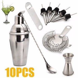 10pcs 700ml Stainless Steel Cocktail Shaker Set With Mixer Bar Drink Bartender Tool set for Kitchen Wedding Party Supplies-modlily