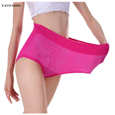 YAVO SOSO Lace Flower Sexy Lingerie women underwears high waist plus size 6XL 10 colors panties women briefs-modlily