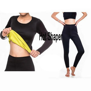 Neoprene Hot Shaper Long Sleeve TOP + Legging Sweat Sauna Slimming Women Fitness Bodyshape Shapewear Tanks Vest Pants-modlily