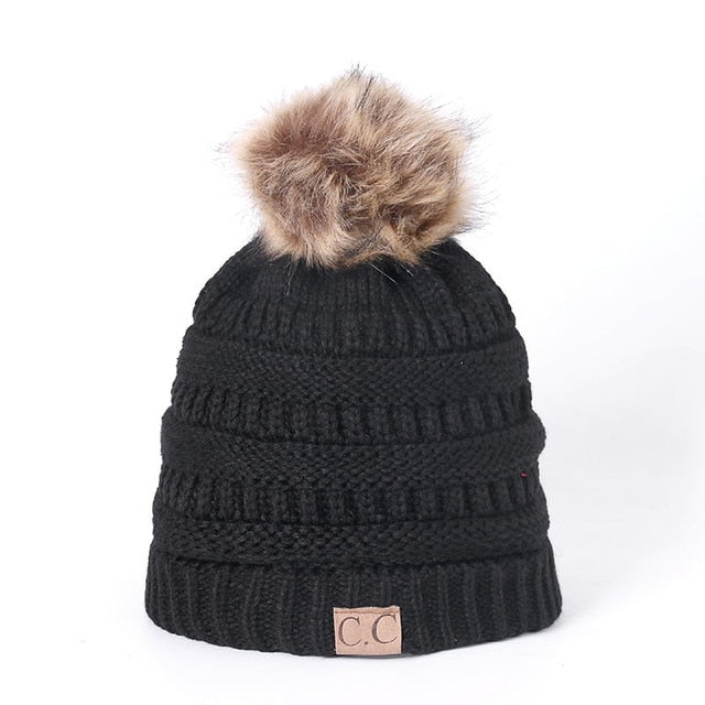 High Quality Brand Beanies Add Wool Fur Lined Cap Pompoms Winter Hat For Women Girl's Hat Knitted Warm Cap Dropshipping Hat-modlily