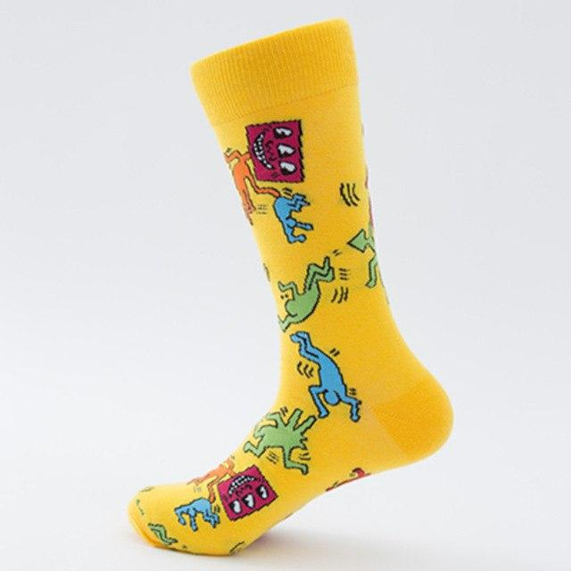 High Quality Mens Combed Cotton Socks Men's Casual Happy Fancy Socks Yellow Rabbit Funny Cool Crew Socks Crazy Sox Teen Smile-modlily