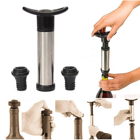 YKPuii Stainless Steel Wine Stopper Preservation Vacuum Set A Suction Pump Wine Stopper-modlily