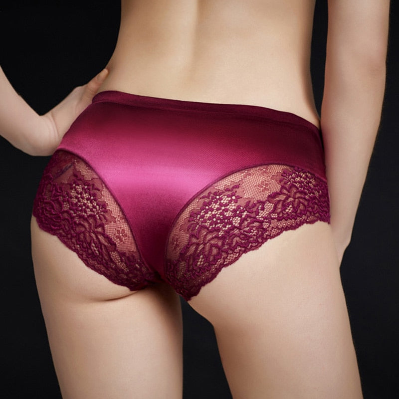 2018 Sexy Lingerie Seamless Lace Calcinha Cotton Crotch Briefs Satin Silk Panties Underwear Women-modlily