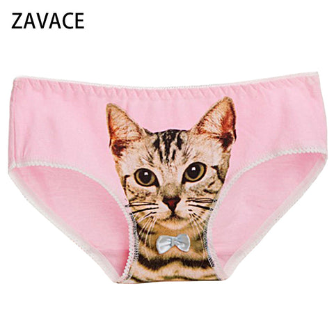 ZAVACE Underwear women Comfortable Cotton cats 3D cats pattern briefs cats kitten ladies sexy panties women's underwear #136