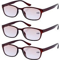 3x Tinted Bifocals Reading Glasses Everyday Use Sun Readers Eyewear Mens Womens Home Office Spectacles +1.0 to +4.0 Black Brown-modlily