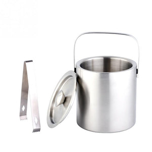 Large 1.3L Insulated Double Walled Stainless Steel Ice Bucket With Tongs and Lid-modlily