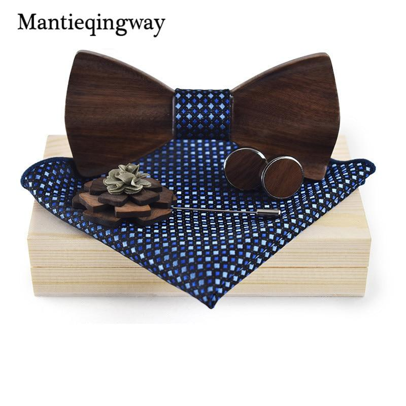 Wood Bowtie+Handkerchief+Brooch+Cufflinks Sets for Mens Suit Wooden Bowtie Floral Printed Bowmodlilj-modlily