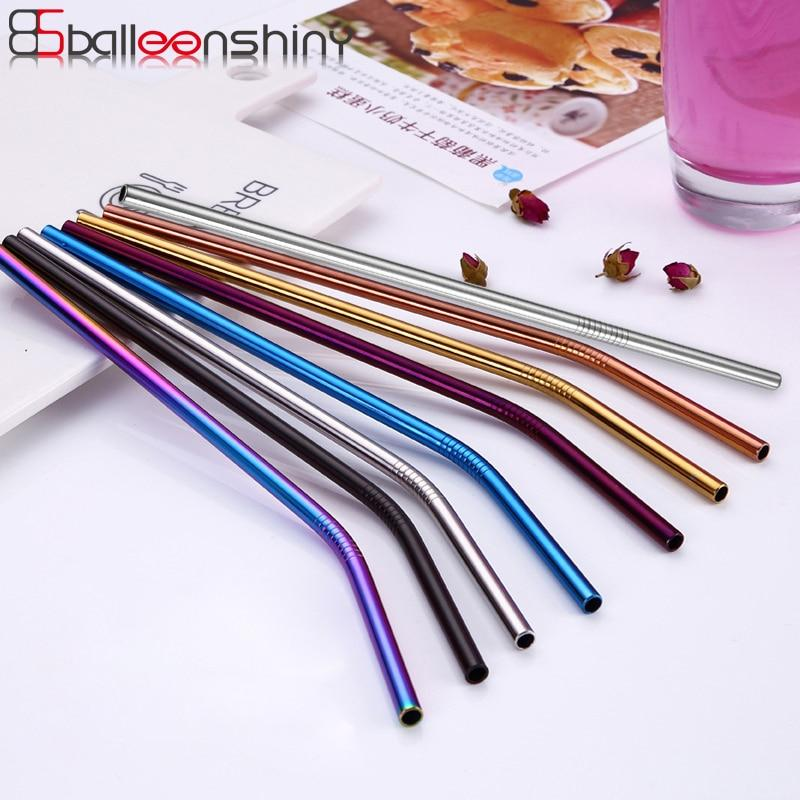 BalleenShiny Reusable Drinking Straw Stainless Steel Metal Straw for Home Party Eco Friendly Colorful Straws Bar Accessories-modlily