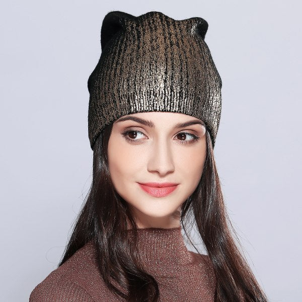 MOSNOW Women s Hats Shining Hot Sale Wool Knitted 2018 Autumn Winter Fashion  Brand New Hat Female dc34786d5348