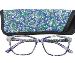 SOOLALA Womens Mens Pocket Printed Reading Glasses with Matching Pouch Cheap Spring Hinge Presbyopic Reading Glasses +1.0 to 4.0-modlily