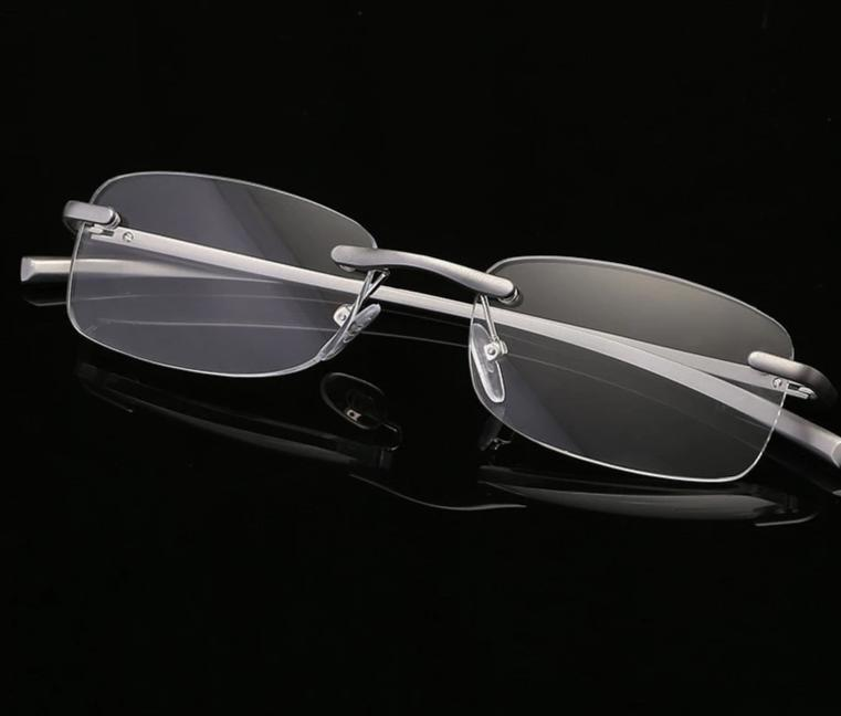 UVLAIK Mens Womens Aluminum Metal Rimless Reading Glasses Clear Mirror Goggles Man Business Frameless Reading Glasses HD lens-modlily