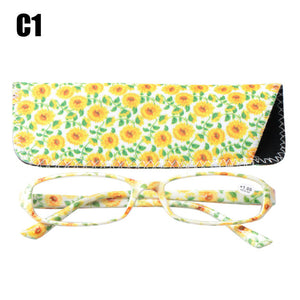 SOOLALA Printed Reading Glasses Spring Hinge Rectangular Presbyopic Reading Glasses W/ Matching Pouch +1.0 1.5 1.75 2.25 to 4.0-modlily