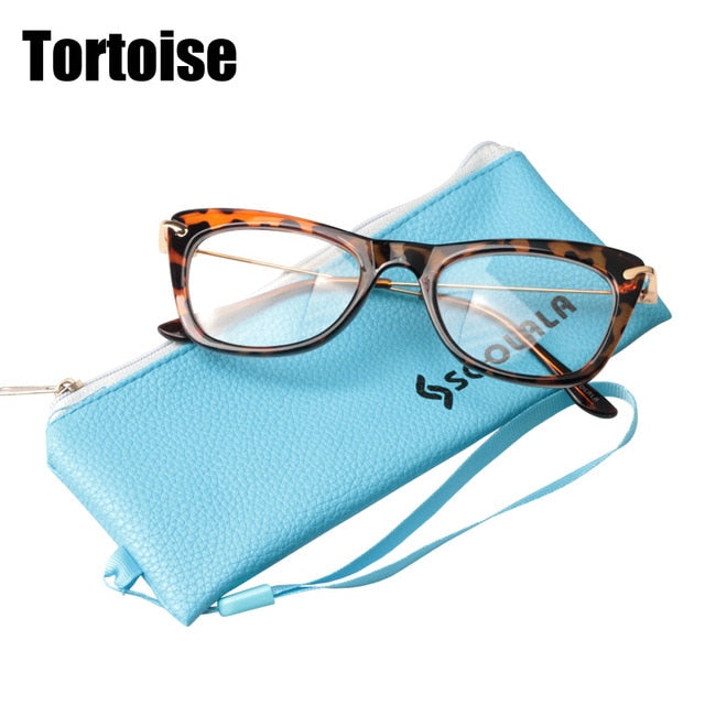 SOOLALA Women's Fashion Designer Cat Eye Eyeglasses Frames with Metal Arms Reading Glasses Women Anti-fatigue Eyewear Oculos-modlily