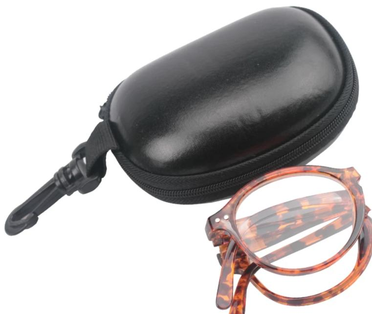 Soolala Women Men Foldable Reading Glasses w/ Leather Case Pocket Reading Glass +1.0 1.25 1.5 1.75 2.0 2.25 2.5 2.75 3.0 3.5 4.0-modlily