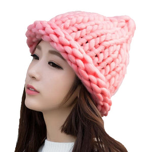 2018 Solid Adult Casual Cotton Acrylic Rushed New Fashion Female Winter wool Hats Hand Coarse Knitted Hat For Women Beanies-modlily