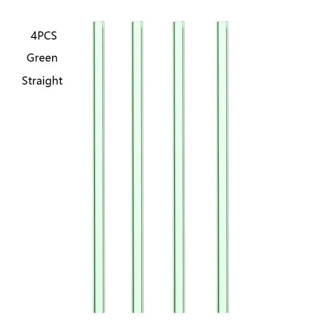 4PCS Reusable Pyrex Glass Drinking Straw Pipette Brush Wedding Healthy Glass Straw Eco-friendly Household Straight Bend-modlily