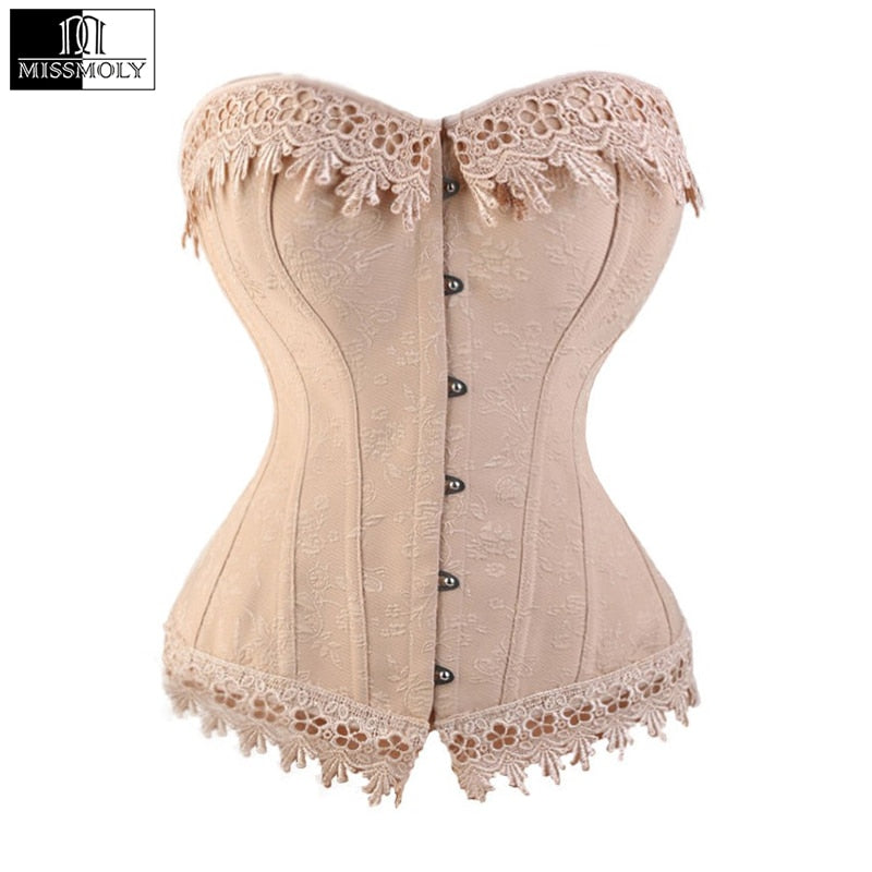 fe64308b37 Lace Up Corsets And Bustiers Overbust Waist Trainer Embroidery Sexy Boned  White Beige Corset Burlesque Costumes