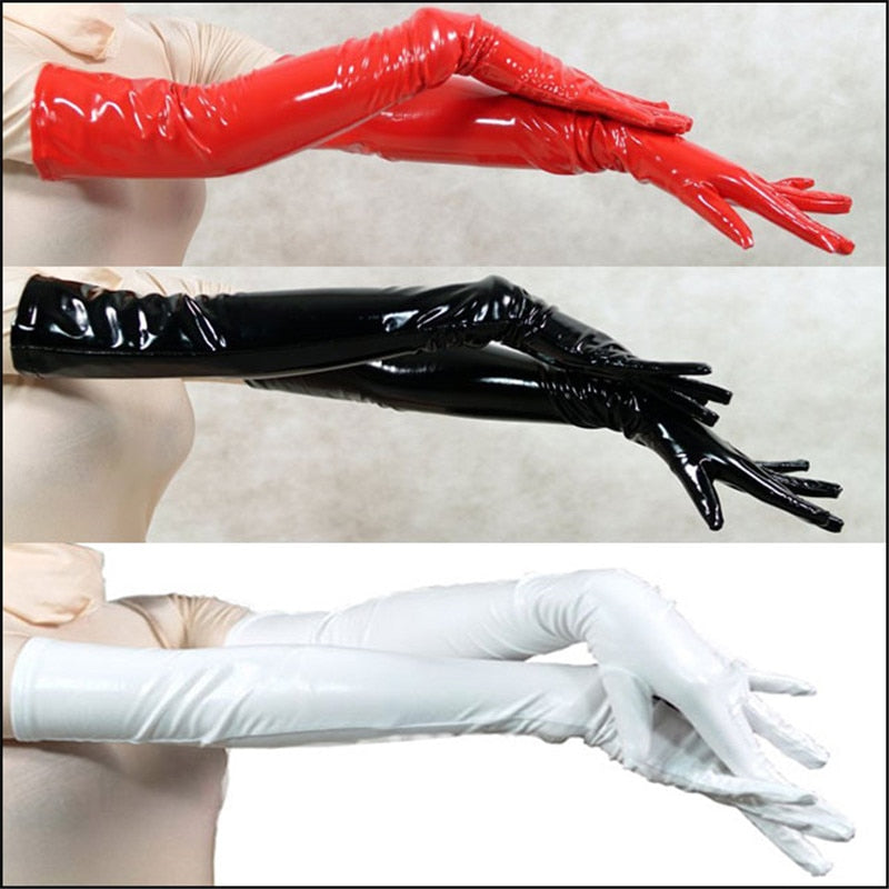 2018 Pair Wholesale Genuine PVC Vinyl Lycra Spandex Zentai Long Black/Red Opera Gloves Unisex Latex Bondage Clubwear PVC Gloves-modlily