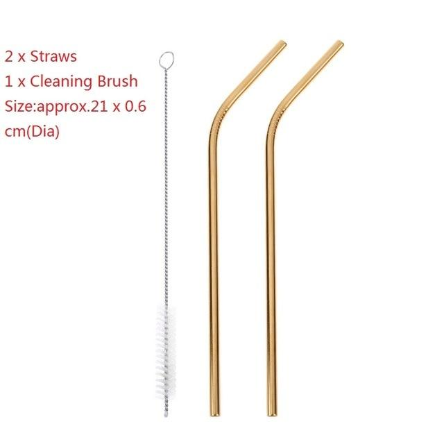 1/2/4/6/8Pcs/lot Reusable Drinking Straw Stainless Steel Metal Straw with 1/2/3 Cleaner Brush for Mugs Party Barware Supplies-modlily