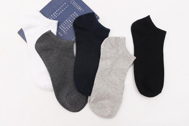 5pairs/lot Men Cotton Ankle Short Socks Casual Wear 42 43 44 45 46 47 48 Plus Size Comfortable Breathable Soft Solid Color Socks-modlily