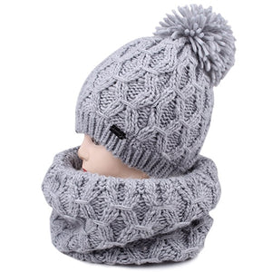 FURTALK winter women scarf hat set knit wool skullies beanies real fur pom pom hats and infinity scarves for girls-modlily