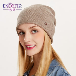 ENJOYFUR Spring Autumn hats for women knitted wool beanies hat 2018 new good quality female hat-modlily
