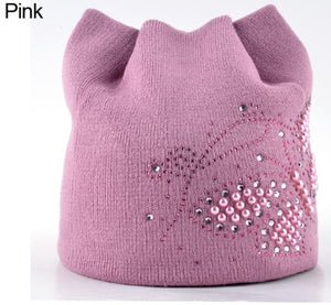 Winter Cat Beanie Hat Ladies Knit Hats For Women Beanies Caps Pearls Butterfly Diamond Beanie Touca Knitted Cap With Ear Flaps-modlily