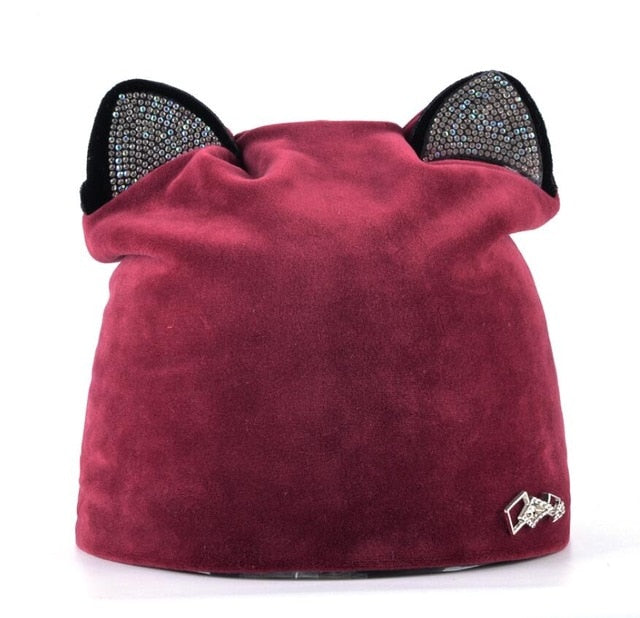 Autumn Winter Women's Beanies Cat Hat Ladies Warm Velvet Skullies Cap With Flashing Rhinestone Ear Flaps Girls Cute Bonnet Touca-modlily