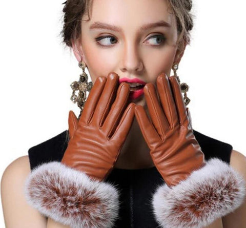 YRRETY Fashion Winter Women Outdoor Casual Gloves Leather Plush Windproof Full Finger Wrist Mittens Lady Warm Rabbit Fur Glove