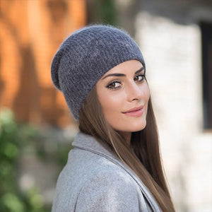 BEFORW 2018 Red Wine White Blue Coffee Gray Rabbit Fur Beanie Hat Women Winter knitted Woolen Skullies Hat Cap Autumn Ladies-modlily