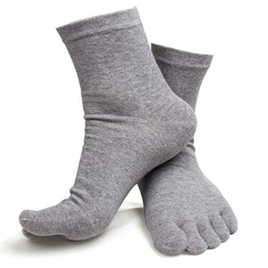 Casual Breathable Men's S Five Finger Toe Socks Solid Long Ankle Cotton Socks New PY6-modlily