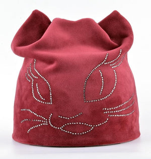 2018 Winter Beanie Hats For Women Diamond Cat Velvet Gorros For Girls Warm Fluff Beanies Cap With Ears Toucas Feminina Inverno-modlily