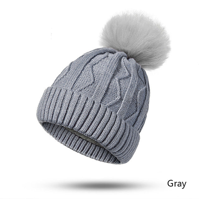 Evrfelan New Women Winter Hat Pompoms Hats Thick Knitted Winter Beanies For Female Fashion Beanies Skullies Women's Gift Hat-modlily