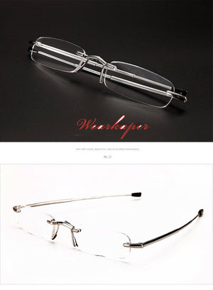 WEARKAPER Upscale Rimless Folding Reading Glasses Men Women Foldable Pocket Presbyopia Reader Hyperopia Eyewear diopter glasses-modlily