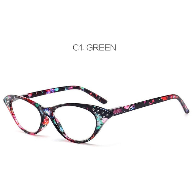 Oulylan Cat Eye Reading Glasses Women Diamond Eyeglasses Presbyopic with Diopter 1.0 1.5 2.0 2.5 3.0 3.5 4.0 for Male Female-modlily