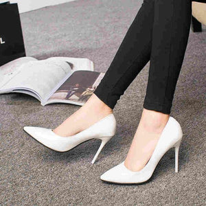 2018 HOT Women Shoes Pointed Toe Pumps Patent Leather Dress High Heels Boat Wedding Zapatos Mujer Blue sexy Summer-modlily