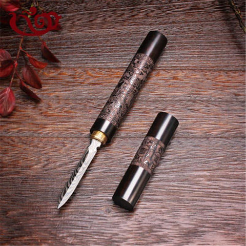 XMT-HOME stainless steel ebony Chinese puer tea needle cutter damascus pattern tea knife accessories 1pc-modlily
