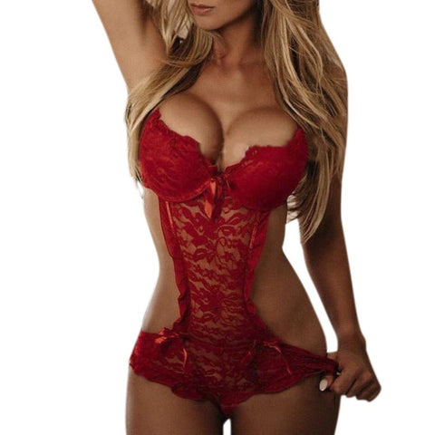 Trajes Sexy Lace Babydolls Nightgowns Pijamas Red Peluches Sexy Lingerie Hot Underwear Sexy Costumes For Gifts 2018 F1