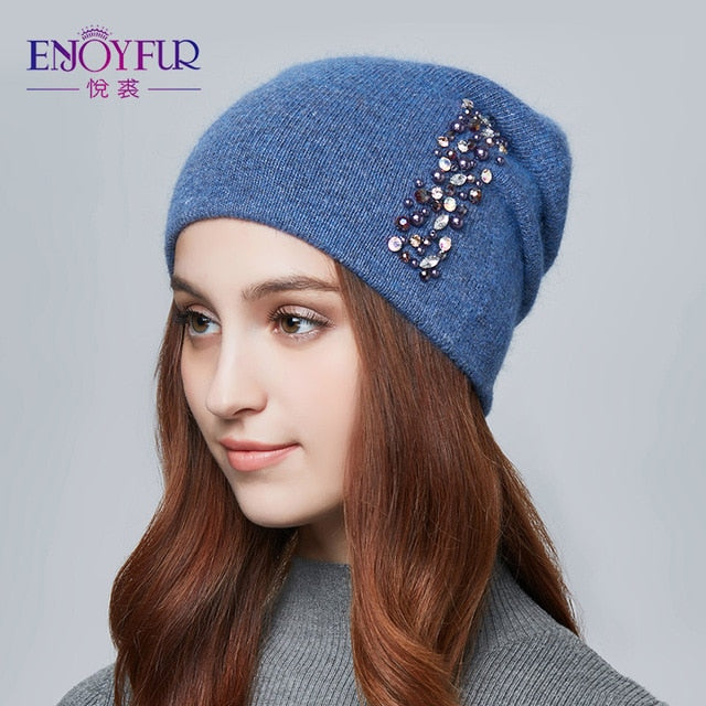 ENJOYFUR winter hats for women knitted wool warm hats lady fashion Rhinestones beanies skull cap-modlily