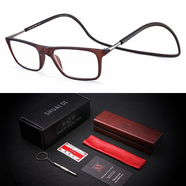 Upgraded Unisex foldable Magnetic Reading Glasses Men Women Adjustable Hanging Neck Folding Glasses Front Connect with magnet-modlily