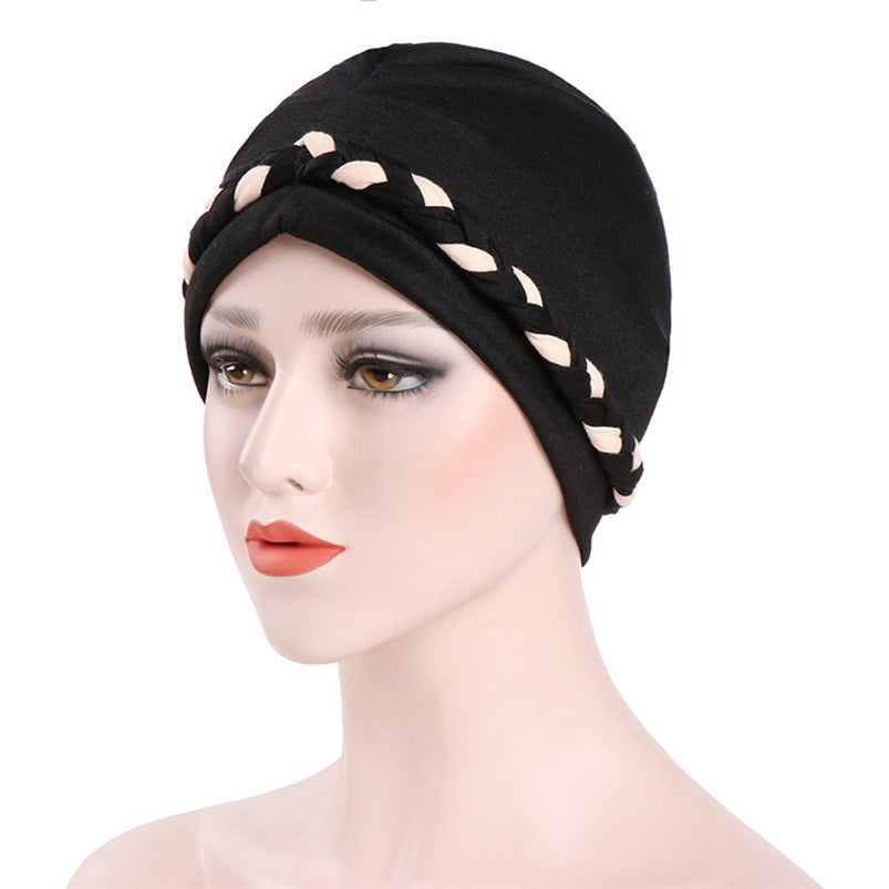 Women India Hat Muslim Ruffle Cancer Chemo Hat Cotton Blend Beanie Scarf Turban Head Wrap Fitted Cap #A23-modlily