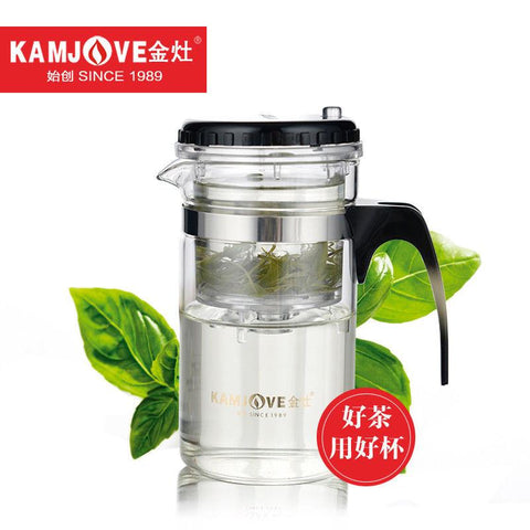 [GRANDNESS] TP-120 Kamjove Art Tea Cup * Mug & Tea Pot 200ml Glass Teapot Press AUTO-OPEN Flower Tea Pot Convenient Office Pot-modlily
