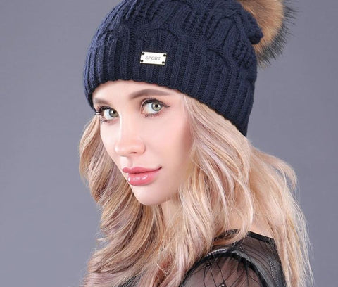 [boapt]Double Layer Knitted Wool Real Raccoon Fur Pompon Hats Female Winter Braid Ladies Cap Headgear For Women Skullies Beanies