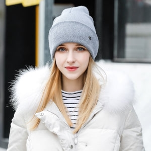 Hat Female Thicken Cotton Beanie High Quality 2018 New Brand Acrylic Knitted Cap Winter Women's Hats Skullies Beanies Bonnet-modlily
