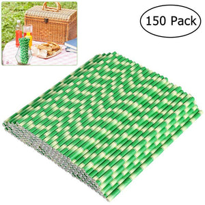 150pcs Biodegradable Paper Straws Bamboo Drinking Straws for Party Drinks Decoration-modlily