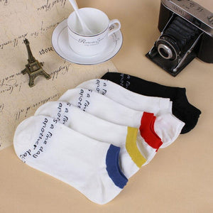 Men's Socks Letter Printed Lot Crew Short Ankle High Low Cut Cotton 1 Pair Fashion Socks-modlily