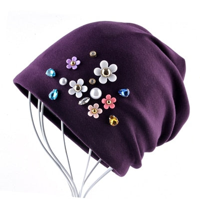 2018 New Beanies Women Spring Autumn Solid Color Skullies Hat For Ladies Rhinestone Pearl Flower Cap Female Fashion Bonnet Gorra-modlily