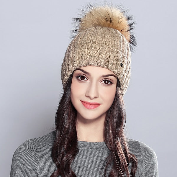 Winter Beanie Natural Raccoon Fur Pom Poms Hat Female Elegant Wool Knitted 2018 Brand New Women's Hats Skullies Beanies #MZ701-modlily