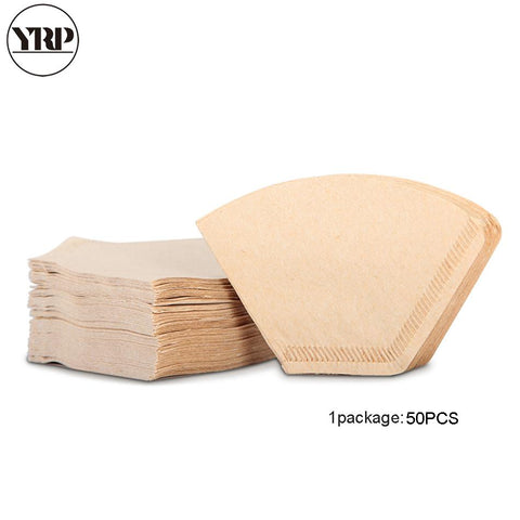 YRP 50 Pcs/Bag Wooden Original Hand Drip Paper Coffee Fan-shaped Filter Espresso Coffee Filter Packs Tea Bag Strainer
